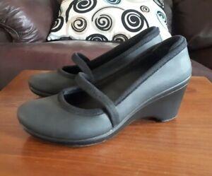 Crocs Casey Black Mary Jane Wedge Heels Size US6 EU36.5