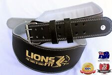 "LIONS FIT 6""WIDE BLACK COLOR SPLIT LEATHER WEIGHTLIFTING BODYBUILDING GYM BELT"