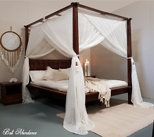 CANOPY MIMPI Muslin Mosquito Net for Four Poster Bed King,Queen,Double,Daybed