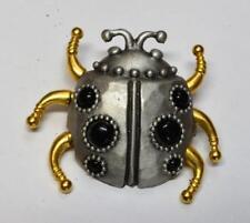 Vintage Signed JJ Gold/Silvertone LADY BAG Shape Pin Brooch