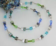 Halskette Collier 4mm Cube Cat Eye weiß Kristallglas mehrfarbig Strass 505f