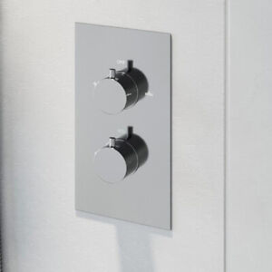 Modern Concealed Shower Valve Thermostatic Twin Outlet Chrome Dual Control