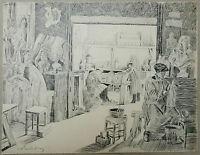Zeichnung 00 innen Atelier Bildhauer Moulage Palast von der Trocadero EDMOND DUC