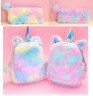 Cute Teen Girl Mini Plush Unicorn Backpack Kid Rainbow School Bag