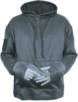 Mens Gun Metal Grey Solid Tactical Concealed Carry Hoodie Sweatshirt