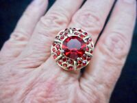 Vintage Gold Tone 1950's Red Rhinestone Ring Adjustable SZ 8