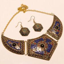 Plated Tibetan Necklace Earring 18-20'' Lapis Lazuli,Coral & Onyx Gemstone Gold