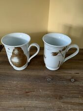 Lot 2 RARE POTTERY BARN OLD ENGLISH POETRY White GOLD PORCELAIN MUGS Laughter