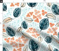 Orange Floral Palm Leaves Tropical Tropical Leaf Spoonflower Fabric by the Yard