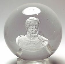 ANTIQUE NEW ENGLAND GLASS COMPANY SULPHIDE PAPERWEIGHT OF LAJOS KOSSUTH (NEGC)