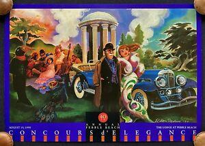 SIGNED 1990 DEDINI Pebble Beach Concours Fine Art Print Poster ROLLS-ROYCE VG