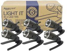 AQUASCAPE #84045 6 PK of 1-watt LED SPOTLIGHTS POND LANDSCAPE LIGHTING New 2018!