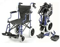 Lightweight folding deluxe travel wheelchair in a bag with handbrakes