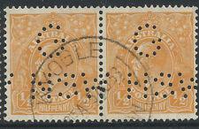 1932 KGV 1/2d Orange Australia C of A WMK G NSW Punctured Perfin Pair KYOGLE NSW