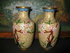 More details for a pair of great japanese oriental cloisonne vases with prunus blossom decoration
