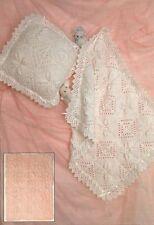 Baby Pram Set Knitting Pattern 2 Blanket Designs & Cushion Cover DK