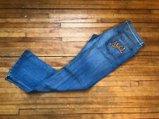 ALEXANDER MCQUEEN McQ WASHED BLUE DENIM & EMBROIDERED SIGNATURE LOGO JEANS S 34