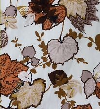 1960 Vintage Curtains Fabric Autumn Leaves Mid Century Browns Ivory Excellent