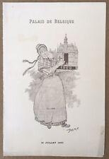 Gravure Menu Exposition Universelle 1900 Palais Belgique Mars Courmont 1900