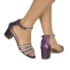 Para Mujer Brillante Diamante Bloque Talón con Tiras Peep Toe Zapatos de noche de fiesta boda