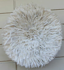 Juju Feather Hat, Off White/Cream, Cameroon, Beautiful High Quality 70 to 80 cm