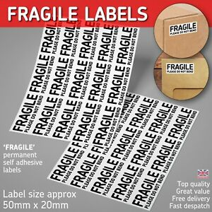 FRAGILE Please Do Not Bend Labels Sticky Self Adhesive Stickers Permanent