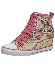 Elle 'Calypso' Coral & Snakeskin Wedge Hi Tops Sneakers - Size 9