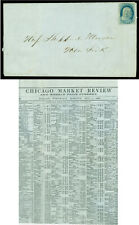 US 1856.OCT.1 Franklin 1c blue - Type II Sc# 7 used on CHICAGO MARKET PRICE LIST