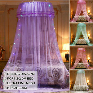 Mosquito Net Dome Bed Princess Bedding Lace Canopy Elegant Netting Queen Size