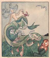Aquarelle - Scaphandrier et Sirène sur la vague. vers 1920
