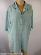 ☆ Ladies Green Embroidered Collar Short Sleeved Shirt Blouse Top UK 18 EU 46 ☆