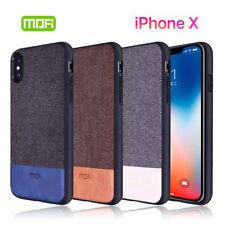 Funda de lujo iPhone X tela y piel MOFI carcasa trasera cuero alta proteccion