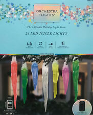 "24 Gemmy ""Orchestra of Lights"" Multi-Function Color-Changing LED Icicle Lights"