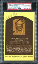 SIGNED Auto HOF Plaque Yellow Postcard SATCHEL PAIGE PSA/DNA AUTHENTIC