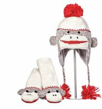 DELUX  SOCK MONKEY KNIT HAT AND MITTENS - SET - EUC
