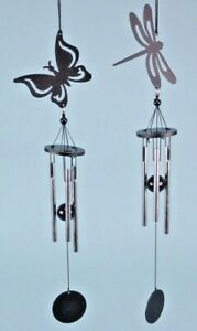 BLACK GARDEN METALLIC SILHOUETTE CHIMES, SHED OR ANYWHERE 33CM