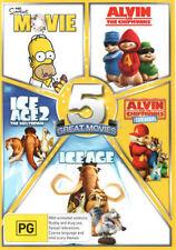 5 Movie DVD: The Simpsons Movie, Alvin,Alvin 2, Ice Age, Ice Age 2 -BRAND NEW