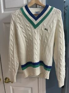Lacoste Men's M Size Alligator White Long Sleeve V Neck Pullover Sweater VINTAGE