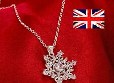 SNOWFLAKE NECKLACE SILVER PLATED JEWELRY CUBIC ZIRCONIA WINTER DESIGN PENDANT