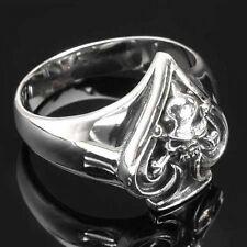 Edelstahl-Ring Pik Ass & Totenkopf - Ace of Spades & Skull, Gr. 59
