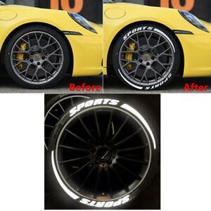 SPORTS + Blade Car Tire Sticker Lettering Decal for 4 Wheels Reflective Durable