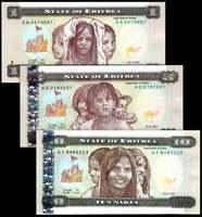 Eritrea 1 ,5,10  Nakfa 1997 Set of 3 Banknotes  3PCS  UNC