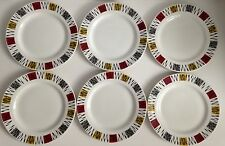 6 x Barratts Delphatic White Tableware Plates Set Pattern Vintage Retro