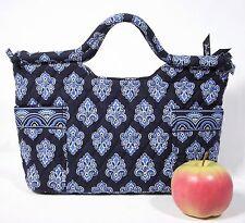 Vera Bradley Tote Satchel Purse Blue Fleur de Lis Flower Retired Handbag NWOT