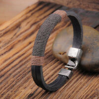 Charm Surfer Mens Vintage Hemp Wrap Leather Wristband Bracelet Cuff Black Brown
