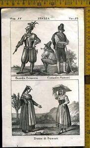 Incisione Costumi Italia Guardia Svizzera Contadini Romani Donne di Frascati