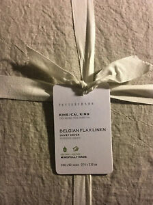 POTTERY BARN Belgian Flax Linen Cal King/ King Duvet Cover Natural Flax NWT!