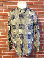 Nautica Long Sleeve Madras Patchwork Button Down Mens XL Shirt 100% Cotton EUC