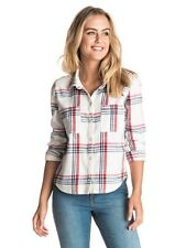 Roxy Plaid Party Long Sleeve Marshmallow Leti Plaid Shirt Sz Small ERJWT03105