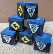Lot of 6 Moosehead Beer Billiard Pool Cue Chalk Nice Rack! NEW Billiards Blue